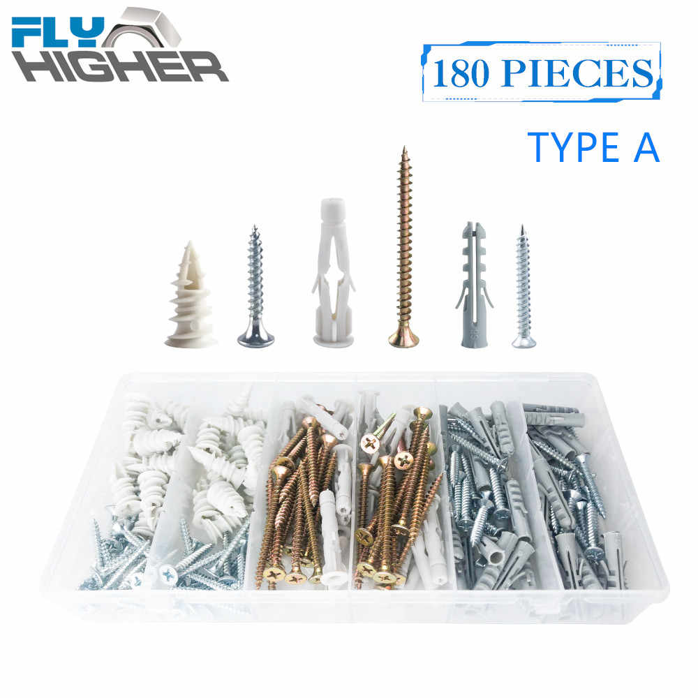 RawlPlug Nylon self drilling fixings with screws for drywall Pack Of 6 or 12