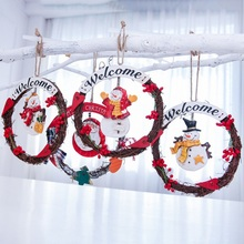 Christmas Rattan Wreath Ornament Welcome Merry Hanging Decoration Sign Santa Claus Snowman Xmas Tree Pendant