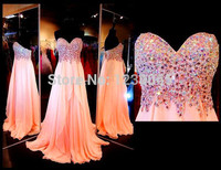 Real Photo Vestidos crystal sweetheart chiffon pink Elegant Formal gown Robe De Soiree 2018 Long Prom gown bridesmaid dresses