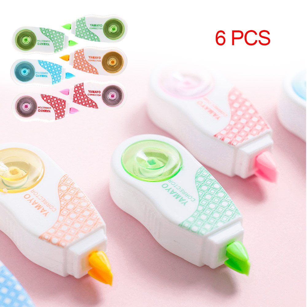 6pcs / Lot 10*8m Deco Correction Tape Mini Correction Ribbons Stationery Office Accessories Students School Supplies Papeleria