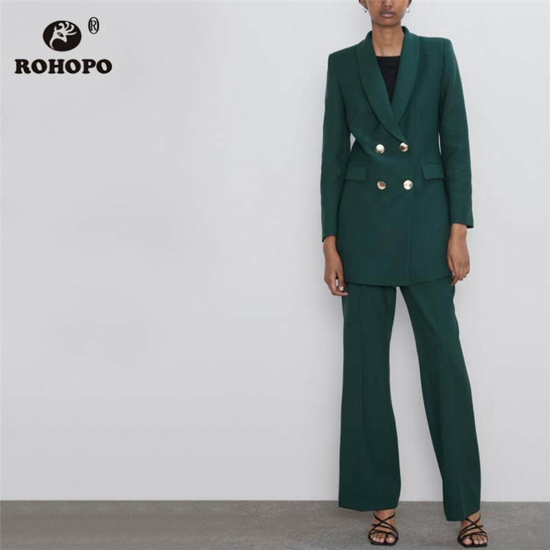 ROHOPO Double Breast Gold Buttons Slim Solid Blazer Notched Collar Side Flaps Welt Pockets Ladies Flared Hem Outwear #9078