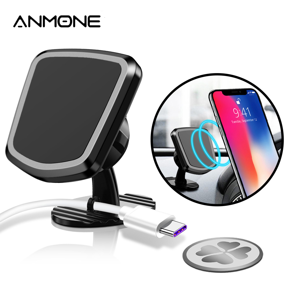 ANMONE Car Phone Holder 360 Degree Magnetic Holder For Phone In Car With Cable Organizer Multi-function Rotating Vehicle Bracket