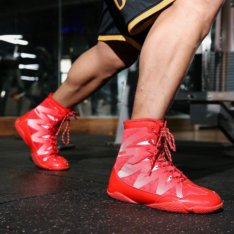 Men's Boxing Training Boot Black / Red Wrestling Shoes Wrestling Shoes men