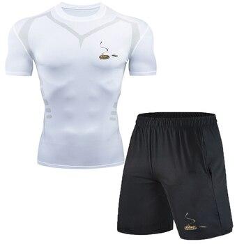 Mùa hè áo sơ mi ngắn tay nam dài tay thể thao đêm chạy quần tập thể dục dài tay nhanh khô quần legging thoáng khí фото