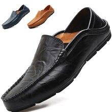 Summer breathable cowhide bean shoes men's lazy shoes large size men's casual men's shoes fashion shoes hollow leather shoes
