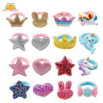 5/12 Pcs/Set Shiny Glitter Elastic Hair Band Heart Star Tie Kids Korean Rope Crwon Kawaii Rabbit Accessories - discount item  20% OFF Kids Accessories