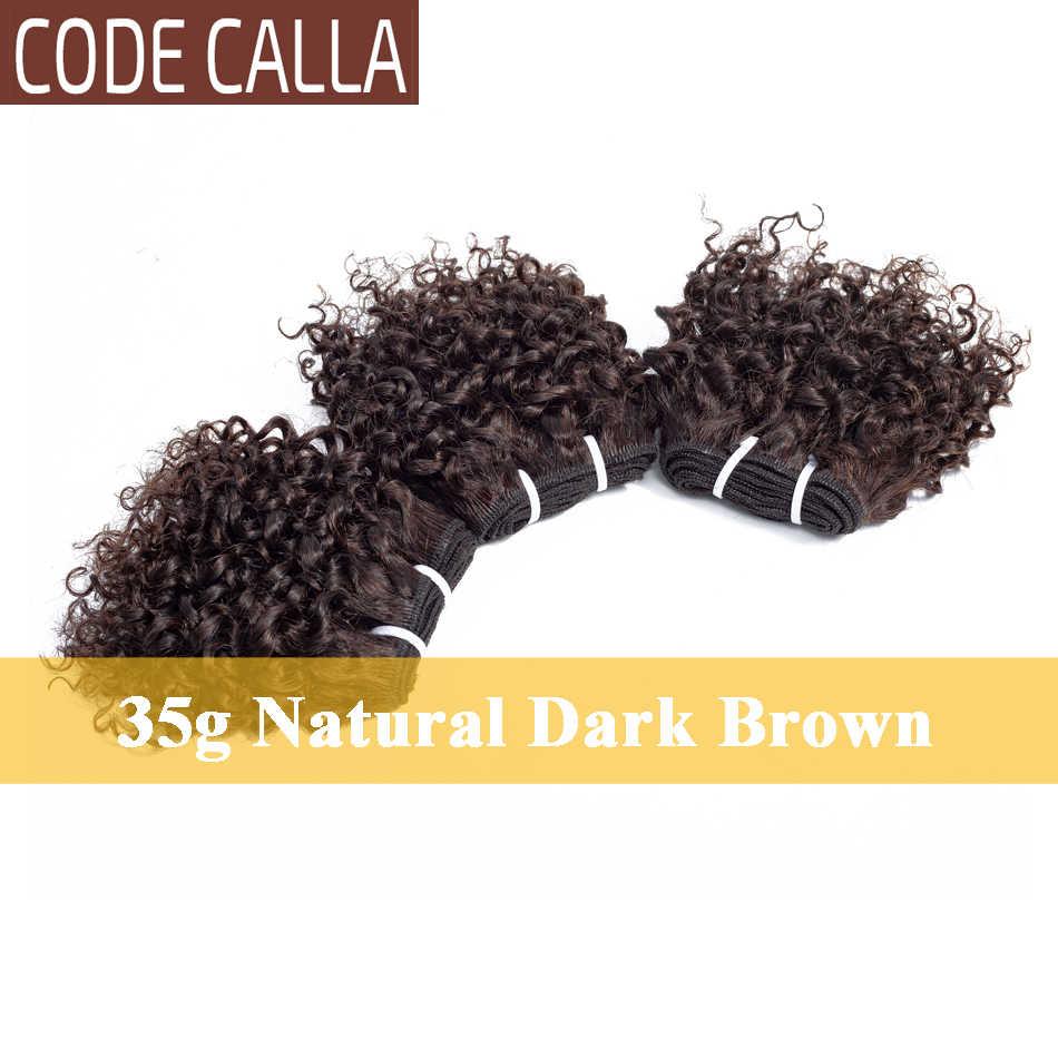 Code Calla Bouncy Lockige Bundles Brasilianische Remy Doppel Gezogen Schuss Menschliches Haar Extensions 35 g 6 Bundles Mit 4X4 spitze Verschluss