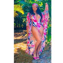 Swimsuit And Cover Up Sets 2020 Sexy Women Swimwear Beach Wear Floral Print V-Neck Bandage Bikini set+Cover Up Two Piece Set