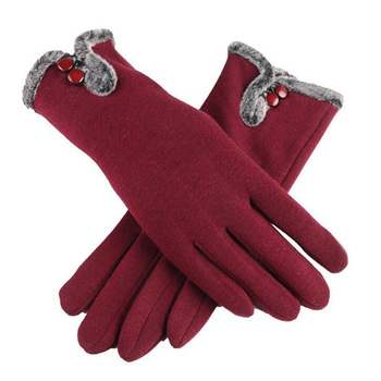 Gloves Women Female Autumn Winter Velvet Cashmere Full Finger New Lace Cotton Touch Screen Fashion Warm image