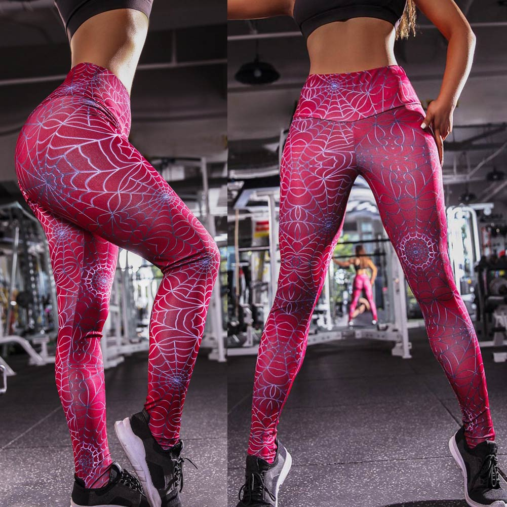 Hot Women Compression Leggings Spider Web Print Stretch Slim Pants Fitness Trousers IE998