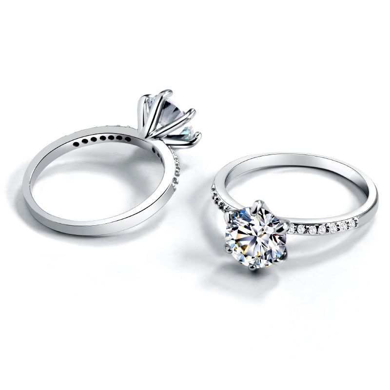 Роскошные обручальные кольца с большим кристаллом для женщин, женское классическое кольцо с 6 когтями и фианитом класса ААА, серебряного цв...