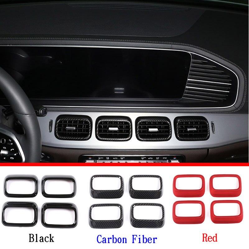 Mercedes Benz GLE GLS sınıfı W167 X167 2020 ABS siyah/karbon fiber/kırmızı merkezi konsol hava çıkışı çerçeve Trim araba aksesuarları