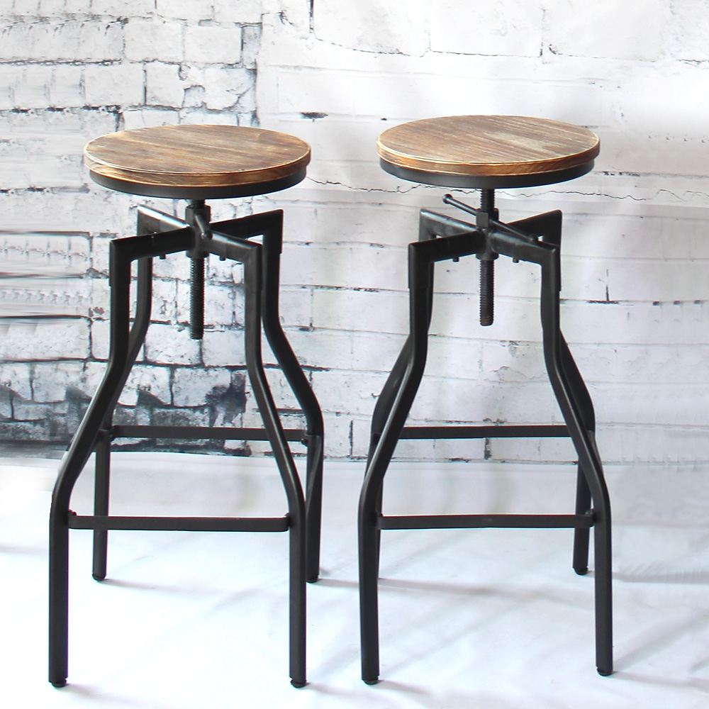 IKayaa Industrial Chair Height Adjustable Swivel Bar Stool Industrial Style Natural Pinewood Top + Metal Kitchen Dining Chair