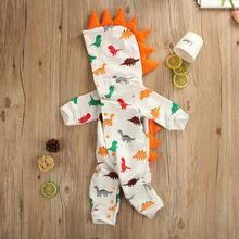0-24M Newborn Baby Boy Girl Dinosaur Romper Long Sleeve Hooded Cartoon Jumpsuit Autumn Spring Soft Baby Clothes
