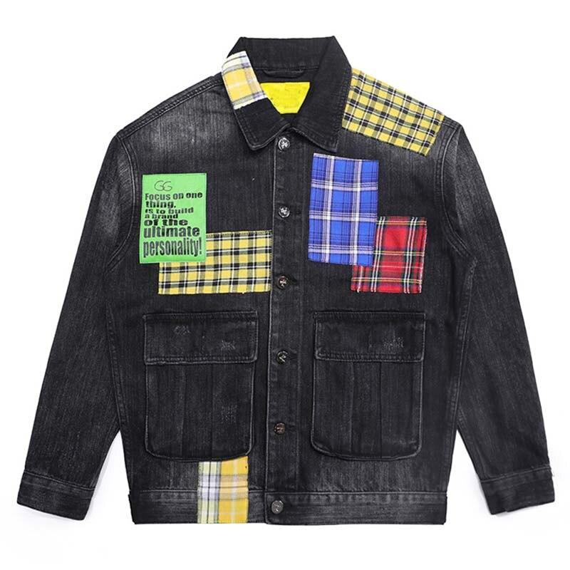 Mcikkny Hip Hop Men`s Fashion Motorcycle Denim Jackets Washed Vintage Patchwork Biker Jeans Jackets Streetwear For Male (2)