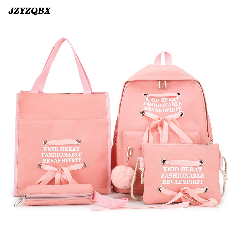 JZYZQBX 4 Pcs/Set School Bag School Backpack For Girls Canvas School Bags Ribbon Bow Backpacks Mochila Escolar