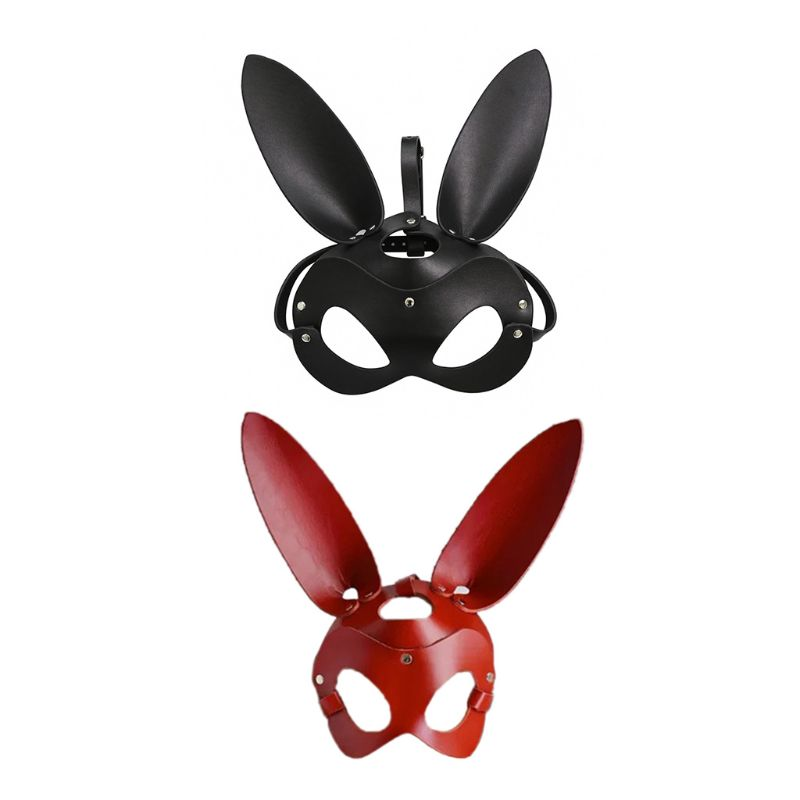 Women Sexy Mask Half Eyes Cosplay Face Bunny Rabbit Leather Adult Halloween Gift