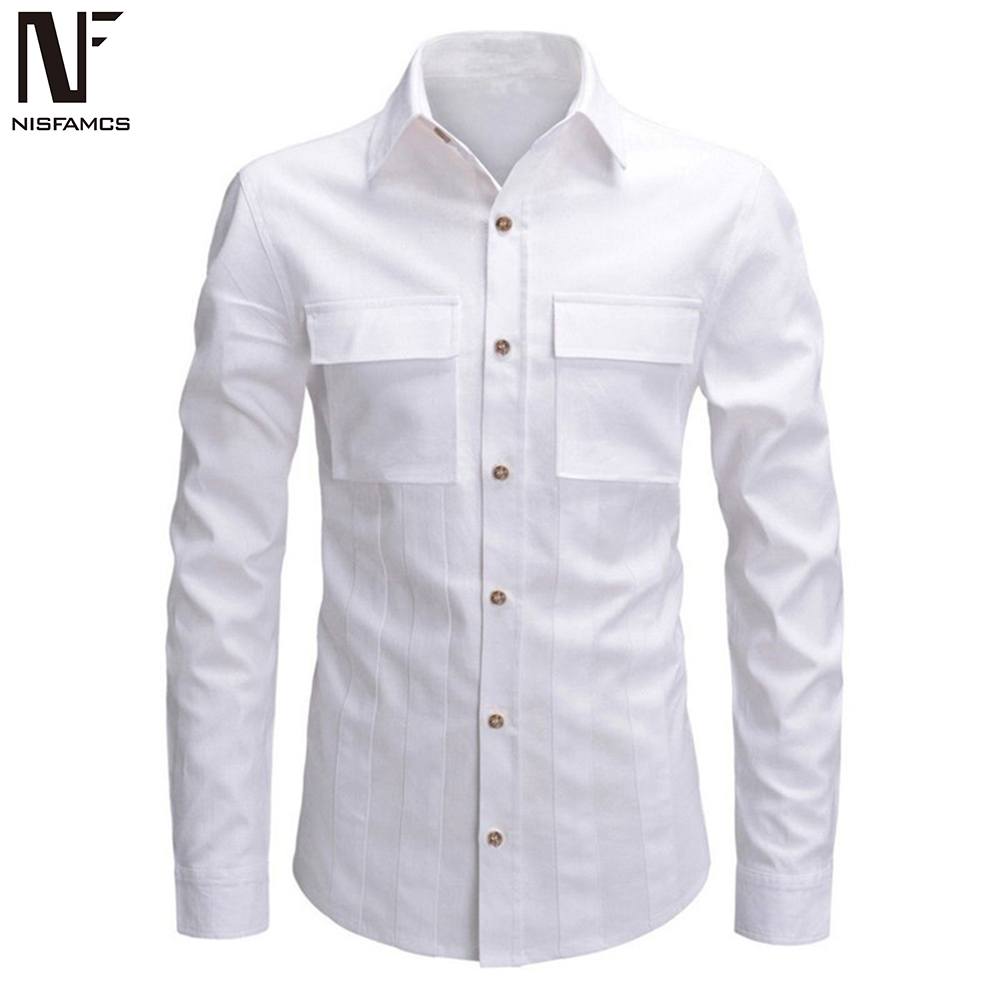 Solid Color Men Long Shirt Turn-down Collar Tops Fashion Double Pockets 2019 New Arrival Male Blouse Europe Man Slim Shirts 2XL