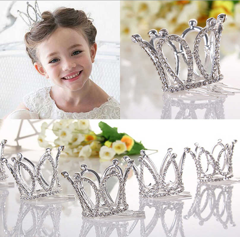 Kids Girls Glitter Crystal Rhinestone Twinkle Princess Crown Tiara Flower Girl Wedding Birthday Prom Hair Accessories