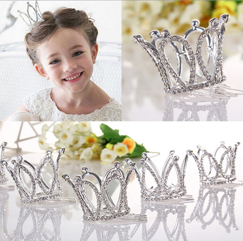 Kids Girls Glitter Crystal Rhinestone Twinkle <font><b>Princess</b></font> <font><b>Crown</b></font> Tiara Flower Girl Wedding Birthday Prom Hair Accessories image