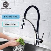 Matte Schwarz Küche Waschbecken Wasserhahn Nach Unten Ziehen Swivel Auslauf Kitchen Sink Tap Deck Montiert Bad Heißen und Kalten Wasser Mischer