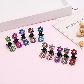 Fashion Small Cute Crystal Flowers Metal Hair Claws Hair Clips Girls Hairstyle Hairpins Hair Oranment Hair Accessories 12PCS/Lot image