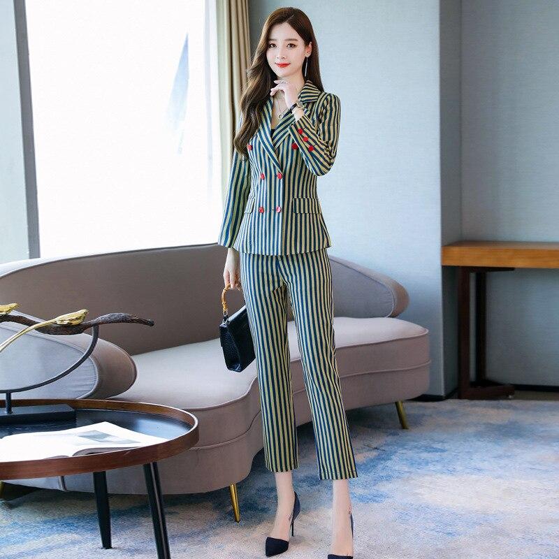 High quality women's suit set Slim pencil pants suit Temperament pink striped jacket female Autumn office suit two-piece 2019