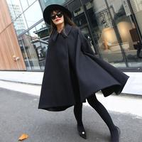 2019 Autumn And Winter New Products Fashion Solid Color Woolen Coat Turn Down Collar Women Cloak Loose Thick Long Coat
