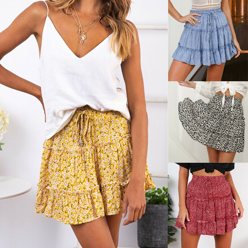 Women Skirt High Waist Floral Boho Ruffle Holiday Party Club Mini Skirt Beach A-line Skirts Summer