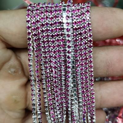 1 ярд/шт, 30 цветов, стеклянные хрустальные стразы на цепочке, Серебряное дно, Пришивные цепочки для рукоделия, украшения сумок для одежды - Цвет: Deep Magenta