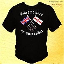 Skrewdriver sem rendição-eua fábrica impresso masculino macio e camisetas masculinas