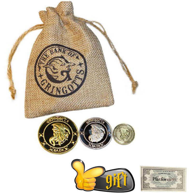 3pcs/set Harri Coin Bag Hogwart Gringott Unum Gaueon Stckl Kout With Gift Magic World Cosplay Halloween Kids Gift