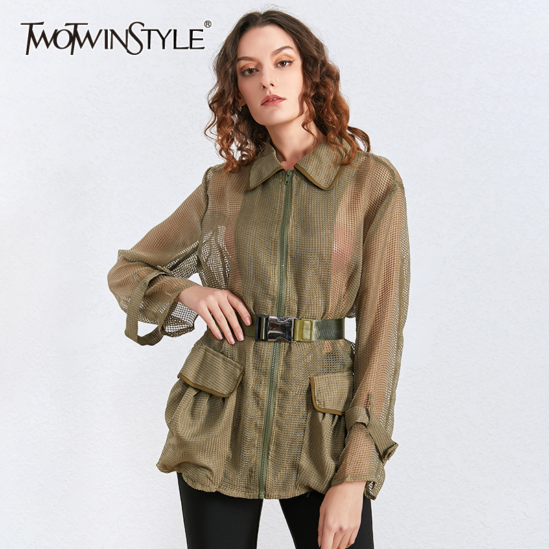 TWOTWINSTYLE Hollow Out Perspective Coat For Women Lapel Collar Long Sleeve Slim Sashes Female Jacket Spring Fashion New