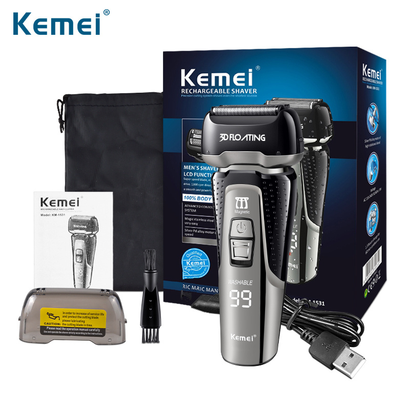 Kemei mens electric shavers shaving machine facial hair shaver precision clipper Whole body washing mens shaver D42 image