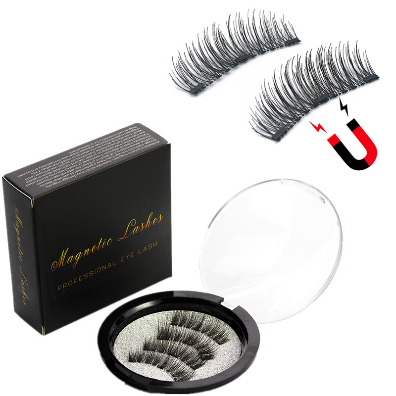 Magnetic Eyelashes With 3 Magnets Handmade 3D Magnetic Eyelashes Natural Magnetic Eyelash Extension With Gift Box