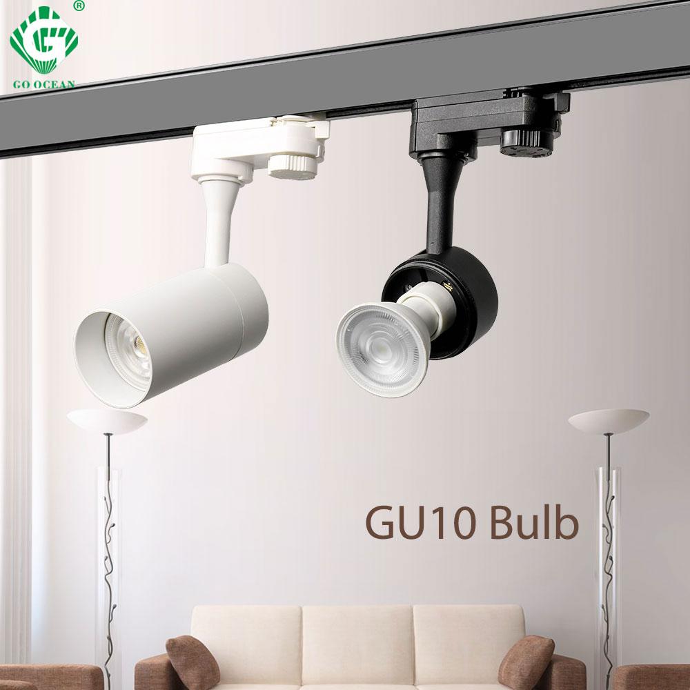 GU10 Rail 2 3 4 สายเฟสสปอตไลท์เสื้อผ้าร้านค้าโคมไฟ LOFT ติดตามรางไฟ LED ติดตาม