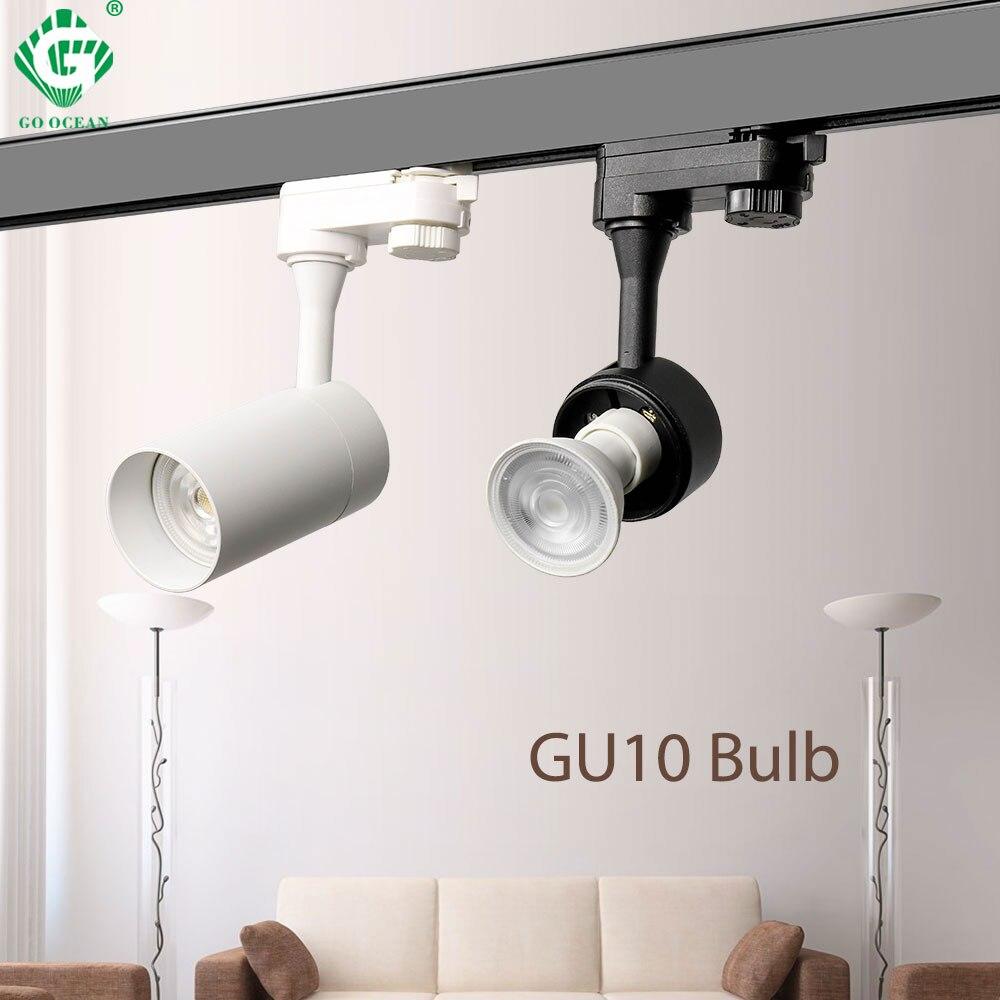 GU10 Rail Licht 2 3 4 Draad Fase Spots Kleren Winkel Winkel Armatuur Loft Tracking Rail Led Track Lichten