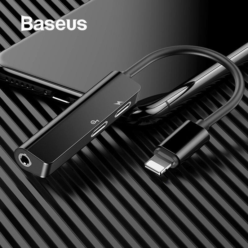 Baseus l52 adaptador de áudio para iphone adaptador earphome divisor para relâmpago para 3.5mm adaptador aux para música/chamada de telefone/carregamento