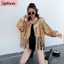 Solid Color Women Sequin Sequins Jacket Tassel Patchwork Women Jacket