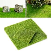 1Pcs Artificial Turf Miniature Handicraft Figurine Grass Garden Ornament Faux Flower Plant Fairy Decoration 15x15cm/30x30cm
