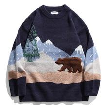 Mens Bear Embroidery Sweaters Streetwear 2020 Winter Unisex Vintage Couple Patchwork Knitwear Women Oversize Pullover Sweater