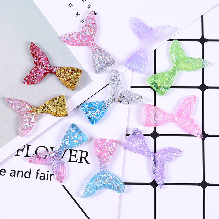 10pcs/lot NEW Cute Baby Resin Mermaid Tail Cartoon Flatback DIY Hair Accessories Shower Decoration Center Crafts