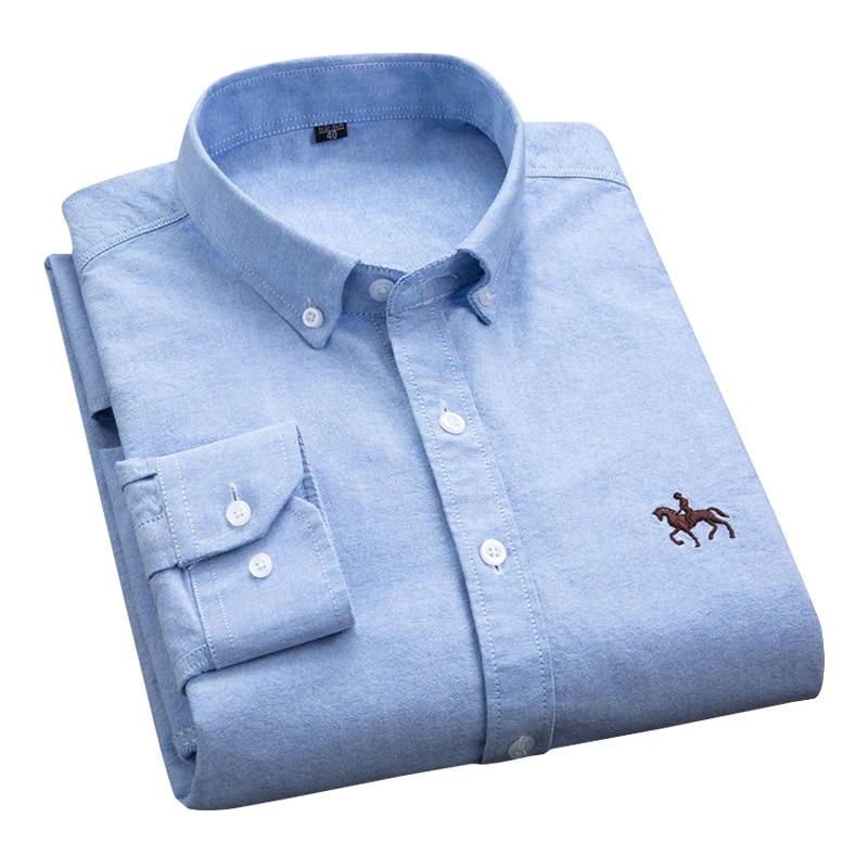 Plus Size 6xl 5xl Men long Sleeve Shirt 100% Cotton Oxford Shirt Fashion Plaid Causal Male Shirts Man Clothes 3