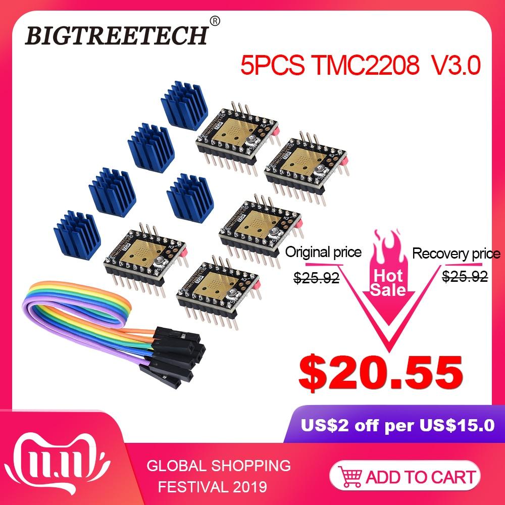 BIQU BIGTREETECH TMC2208 V3.0 UART Stepper Motor Mute Driver Stepstick VS TMC2100 TMC2130 For 3d Printer Parts SKR MKS Board