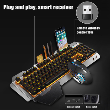 Gaming Keyboard Mouse Set Chargable Wireless Keyboard with Colorful Lights Mouse with 4 Adjustable DPI LHB99