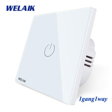 WELAIK UK Touch-Switch Crystal-Glass Panel-Switch Wall-Intelligent Switch-Smart-Switch 1gang-1way LED-Lamp B1911CW B cheap CN(Origin) TOUCH ON TOUCH OFF ROHS Switches 6 Months 1Gang 1Way Touch On Off Switch UK Touch Switch 1Gang1Way 3~200W Gang