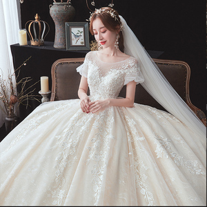 Image 5 - 구슬 장식 아플리케 레이스 짧은 소매 높은 허리 공주 공 가운 웨딩 드레스 임신 신부 플러스 크기 Aliexpress 로그인