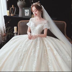Image 5 - Beading apliques rendas manga curta cintura alta princesa vestido de baile vestido de casamento para noivas gravidez plus size login aliexpress