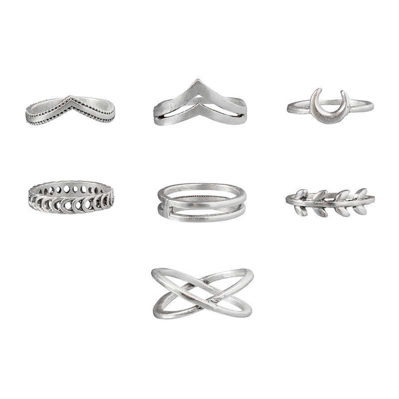 Sindlan 7 pçs simples prata geométrica lua charme anéis para mulheres punk moda boho conjunta dedo anéis conjunto jóias acessórios