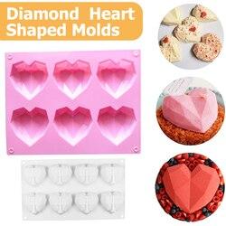 6 cavidade diamante amor silicone molde do bolo de silicone 3d forma do coração fondant bolo mousse chocolate cozimento molde modelagem decoração